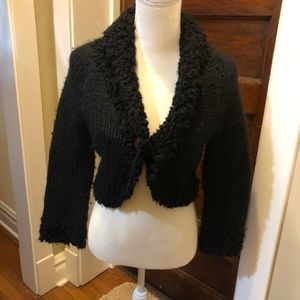 Bebe Medium Black Knit Button Shrug Sweater.
